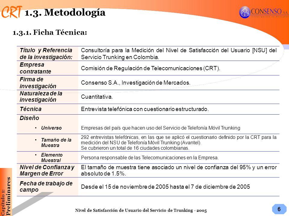 6 Nivel de Satisfacción de Usuario del Servicio de Trunking - 2005 1.3. Metodología Título y Referencia de la investigación: Consultoría para la Medic