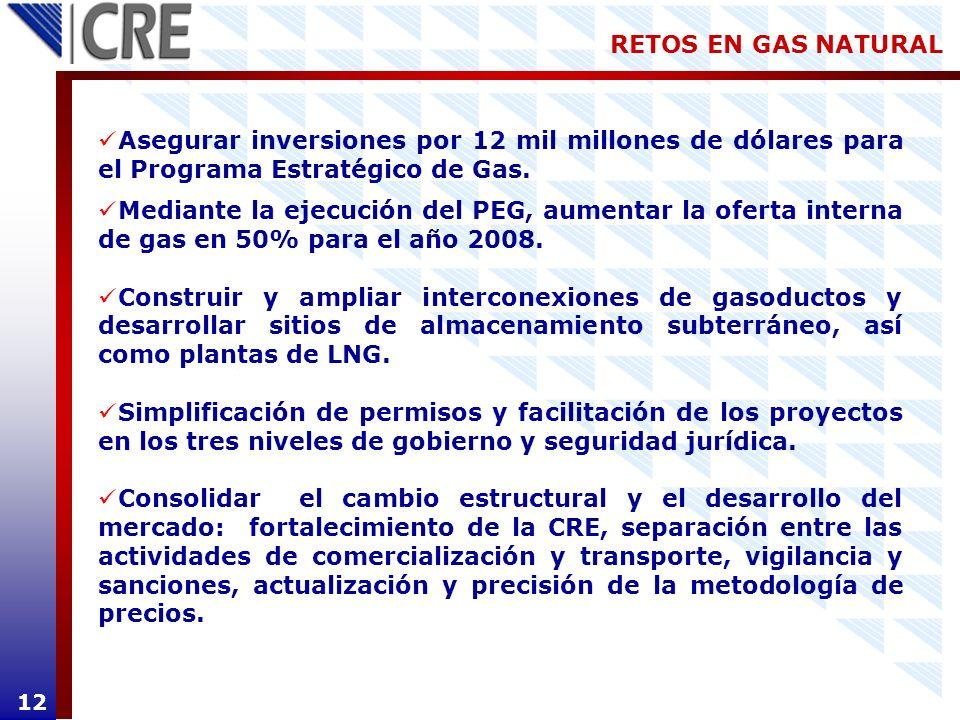 RETOS EN GAS NATURAL 12 Asegurar inversiones por 12 mil millones de dólares para el Programa Estratégico de Gas. Mediante la ejecución del PEG, aument