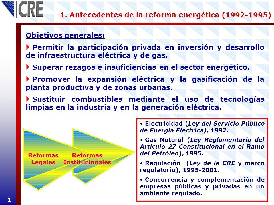 1. Antecedentes de la reforma energética (1992-1995) 1 Objetivos generales: Permitir la participación privada en inversión y desarrollo de infraestruc