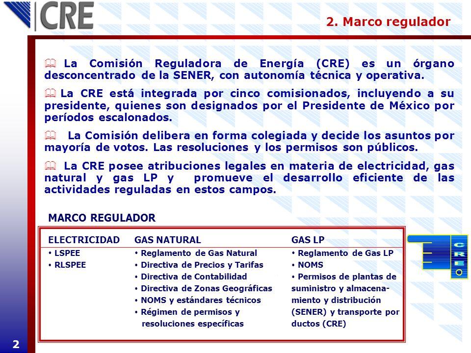 2. Marco regulador 2 La Comisión Reguladora de Energía (CRE) es un órgano desconcentrado de la SENER, con autonomía técnica y operativa. La CRE está i