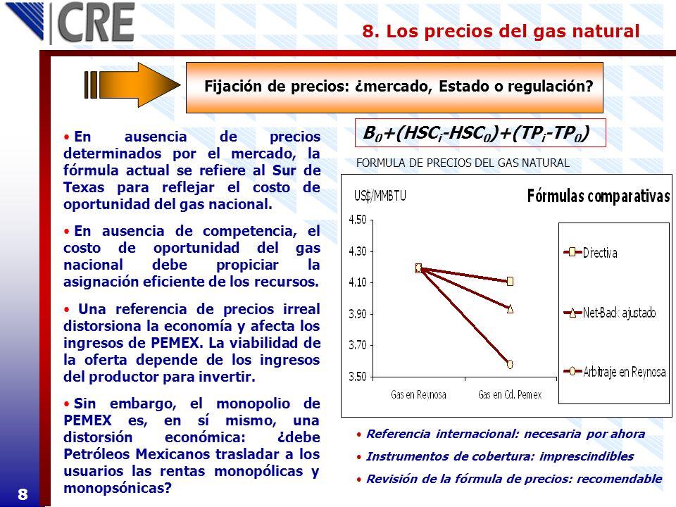 En ausencia de precios determinados por el mercado, la fórmula actual se refiere al Sur de Texas para reflejar el costo de oportunidad del gas naciona