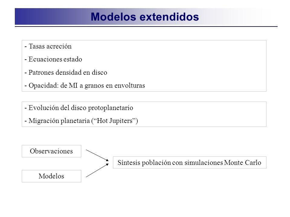 Modelos extendidos - Tasas acreción - Ecuaciones estado - Patrones densidad en disco - Opacidad: de MI a granos en envolturas - Evolución del disco protoplanetario - Migración planetaria (Hot Jupiters) Observaciones Modelos Síntesis población con simulaciones Monte Carlo
