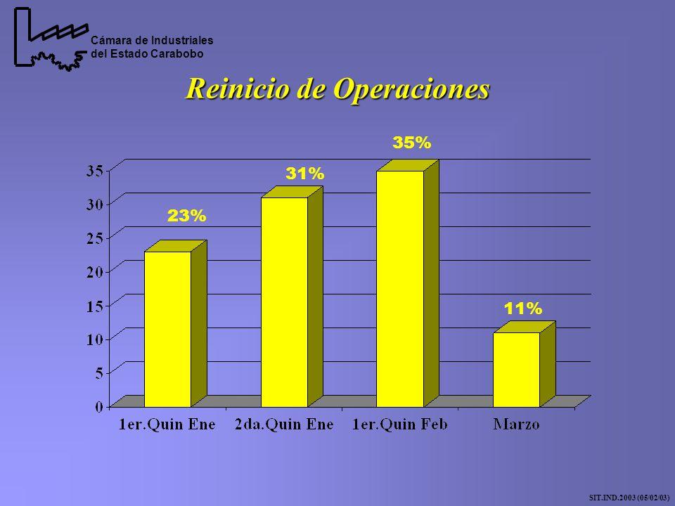 Reinicio de Operaciones Cámara de Industriales del Estado Carabobo SIT.IND.2003 (05/02/03) 23% 31% 35% 11%
