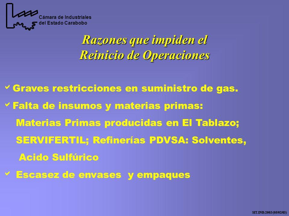 Cámara de Industriales del Estado Carabobo SIT.IND.2003 (05/02/03) Razones que impiden el Reinicio de Operaciones Graves restricciones en suministro de gas.