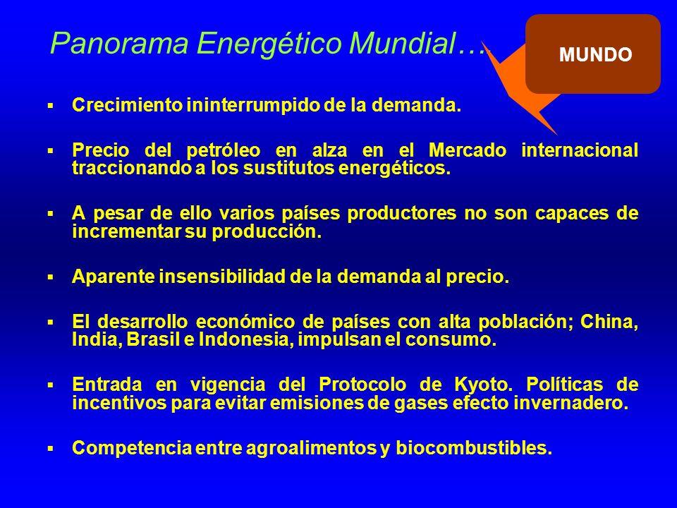 Panorama Energético Mundial….Crecimiento ininterrumpido de la demanda.