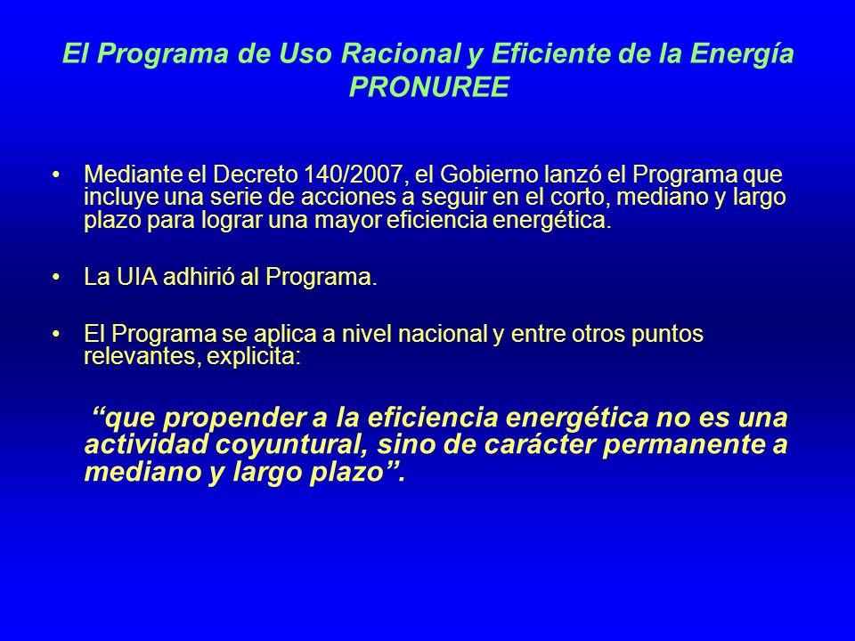 El Programa de Uso Racional y Eficiente de la Energía PRONUREE Mediante el Decreto 140/2007, el Gobierno lanzó el Programa que incluye una serie de acciones a seguir en el corto, mediano y largo plazo para lograr una mayor eficiencia energética.