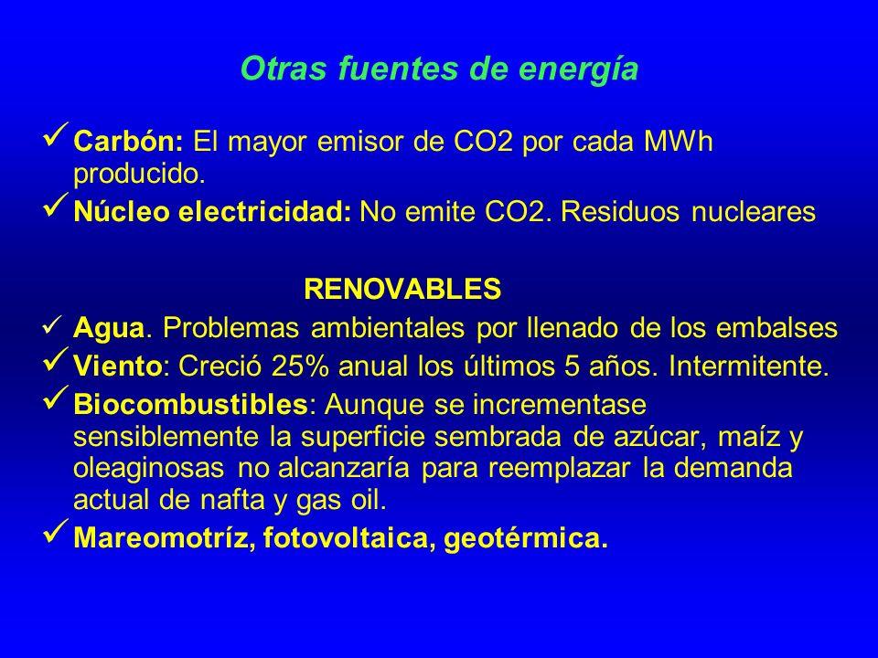 Otras fuentes de energía Carbón: El mayor emisor de CO2 por cada MWh producido.