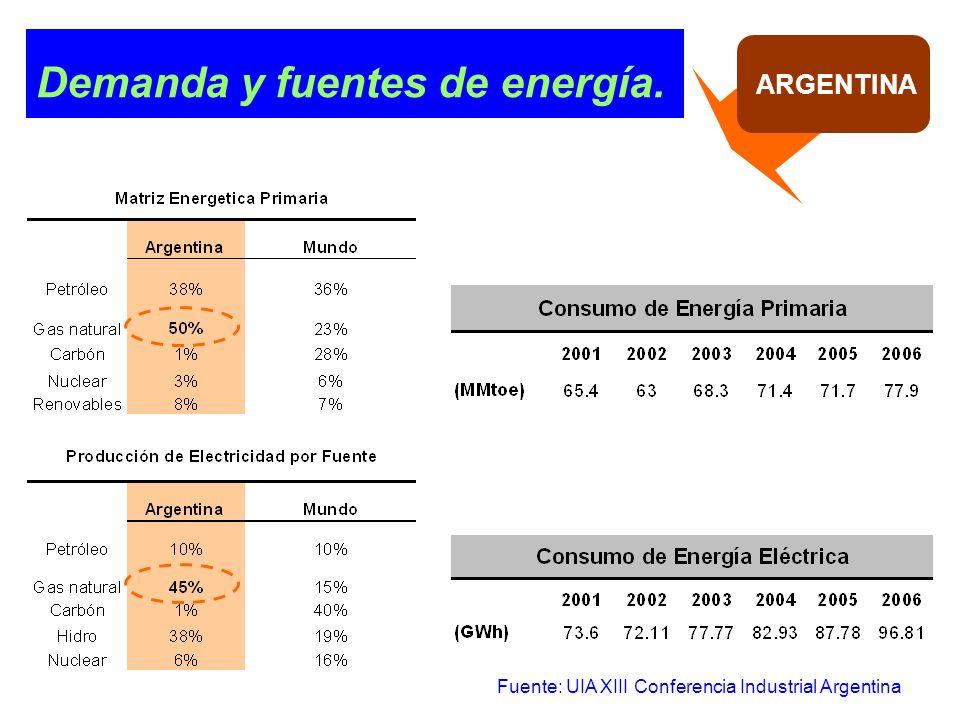 Demanda y fuentes de energía. ARGENTINA Fuente: UIA XIII Conferencia Industrial Argentina