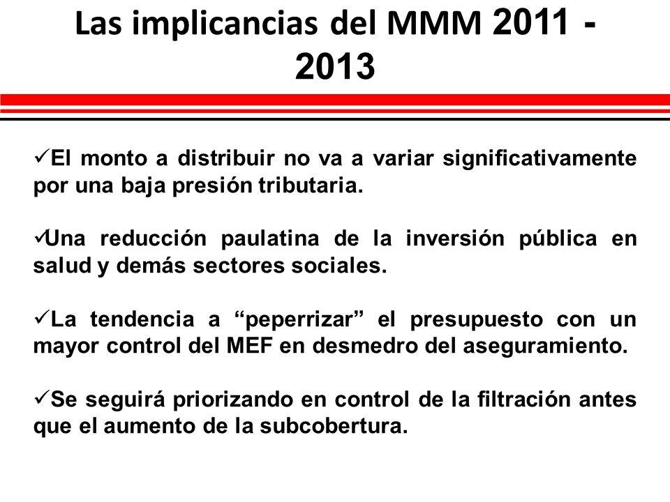 Las implicancias del MMM 2011 - 2013 El monto a distribuir no va a variar significativamente por una baja presión tributaria. Una reducción paulatina