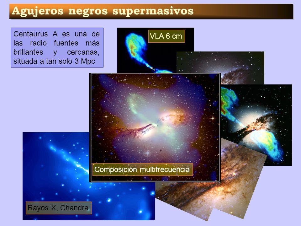 Agujeros negros supermasivos Centaurus A es una de las radio fuentes más brillantes y cercanas, situada a tan solo 3 Mpc VLA 6 cm Optico HST Rayos X,