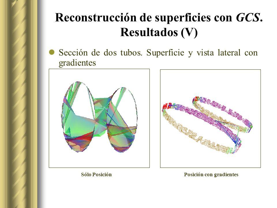 Reconstrucción de superficies con GCS.Resultados (V) Sección de dos tubos.