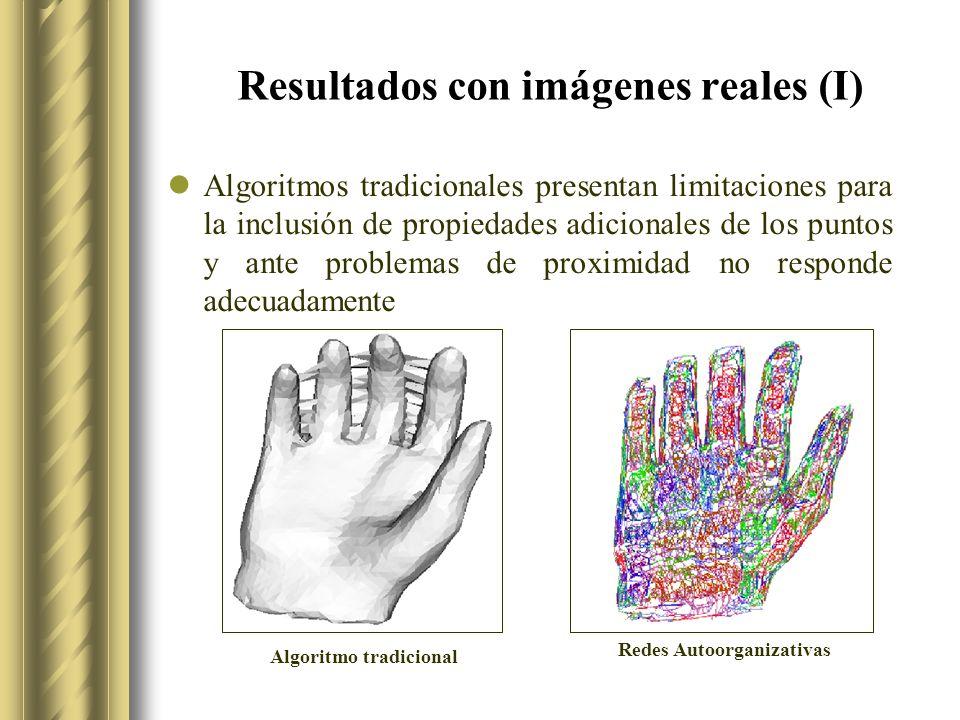 Resultados con imágenes reales (I) Algoritmos tradicionales presentan limitaciones para la inclusión de propiedades adicionales de los puntos y ante problemas de proximidad no responde adecuadamente Algoritmo tradicional Redes Autoorganizativas