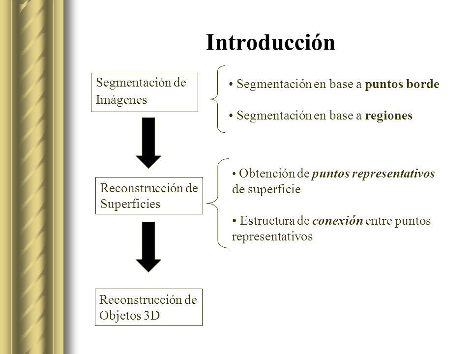 Introducción Segmentación de Imágenes Reconstrucción de Superficies Reconstrucción de Objetos 3D Segmentación en base a puntos borde Segmentación en base a regiones Obtención de puntos representativos de superficie Estructura de conexión entre puntos representativos