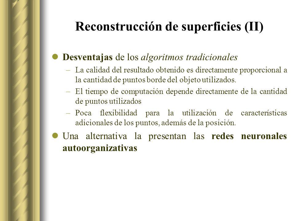 Reconstrucción de superficies (II) Desventajas de los algoritmos tradicionales –La calidad del resultado obtenido es directamente proporcional a la cantidad de puntos borde del objeto utilizados.