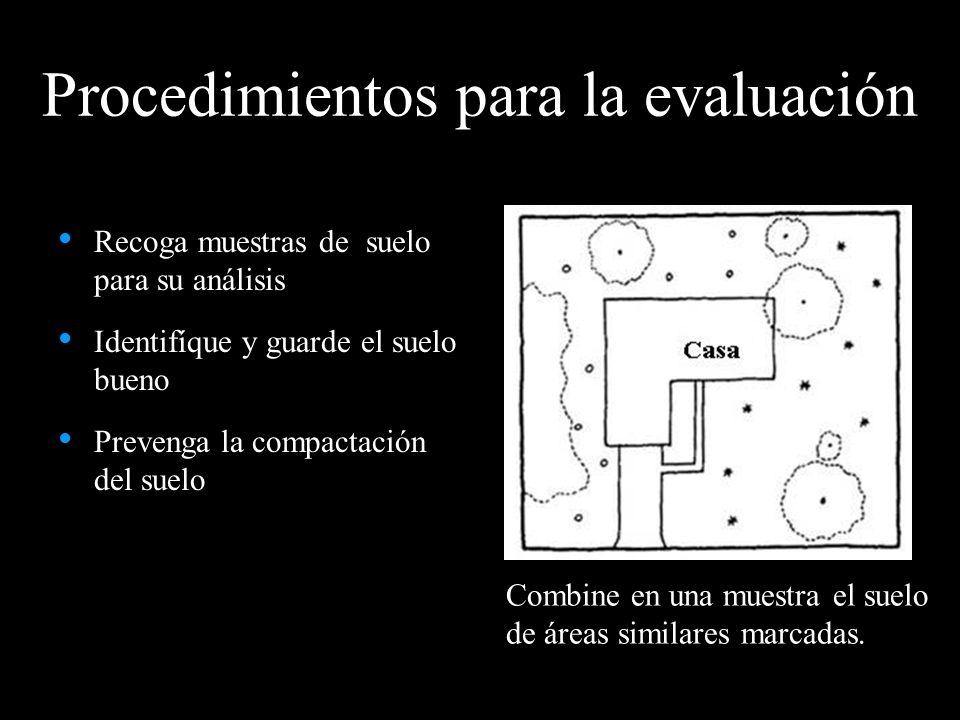 Procedimientos para la evaluación Recoga muestras de suelo para su análisis Identifíque y guarde el suelo bueno Prevenga la compactación del suelo Com