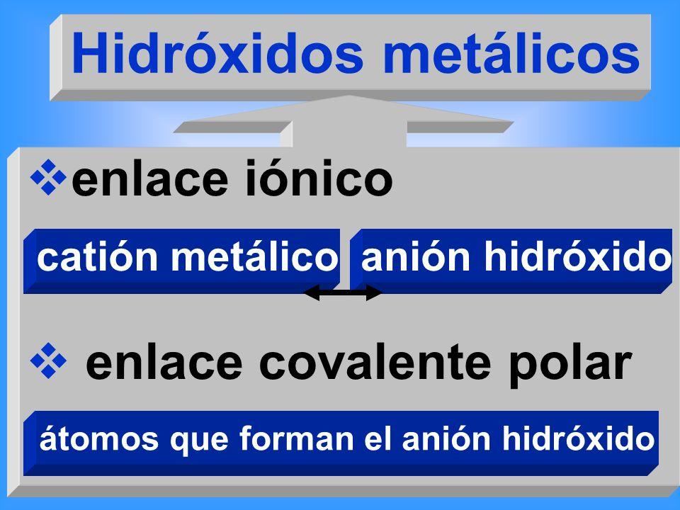 Hidróxidos metálicos enlace iónico enlace covalente polar catión metálicoanión hidróxido átomos que forman el anión hidróxido