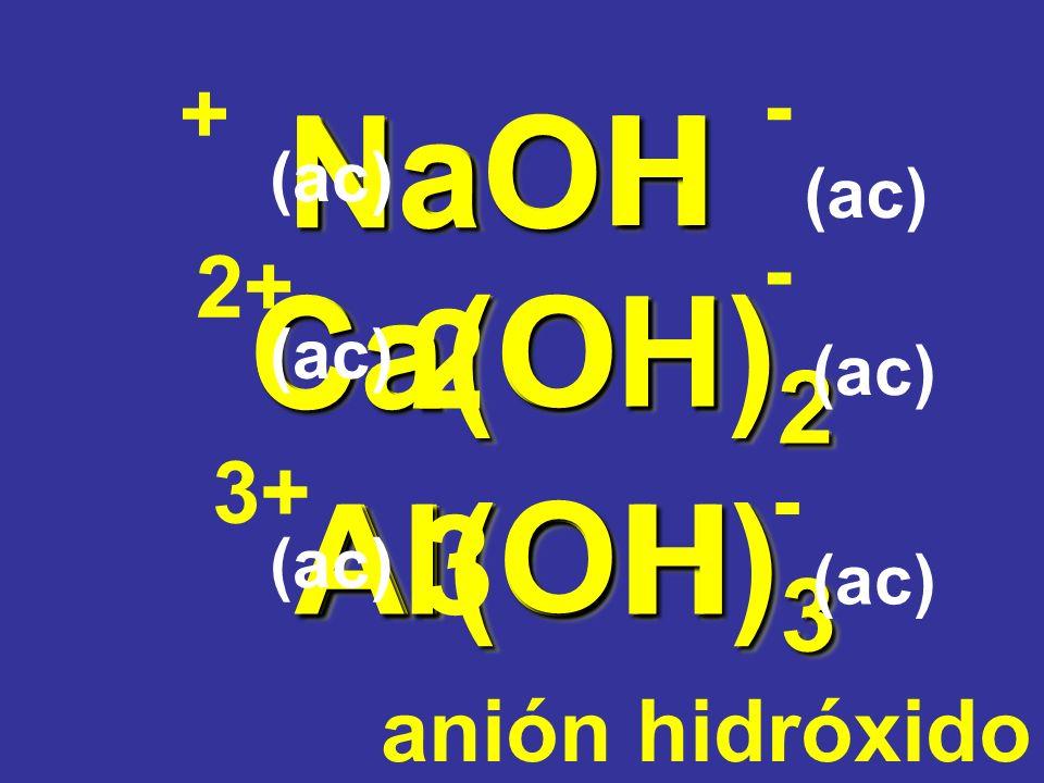 Ca(OH) 2 Ca(OH) 2 OH NaOH NaOH Na Ca O H Al(OH) 3 Al(OH) 3 Al O H anión hidróxido (ac) + 2+ 3+ - - - 2 3