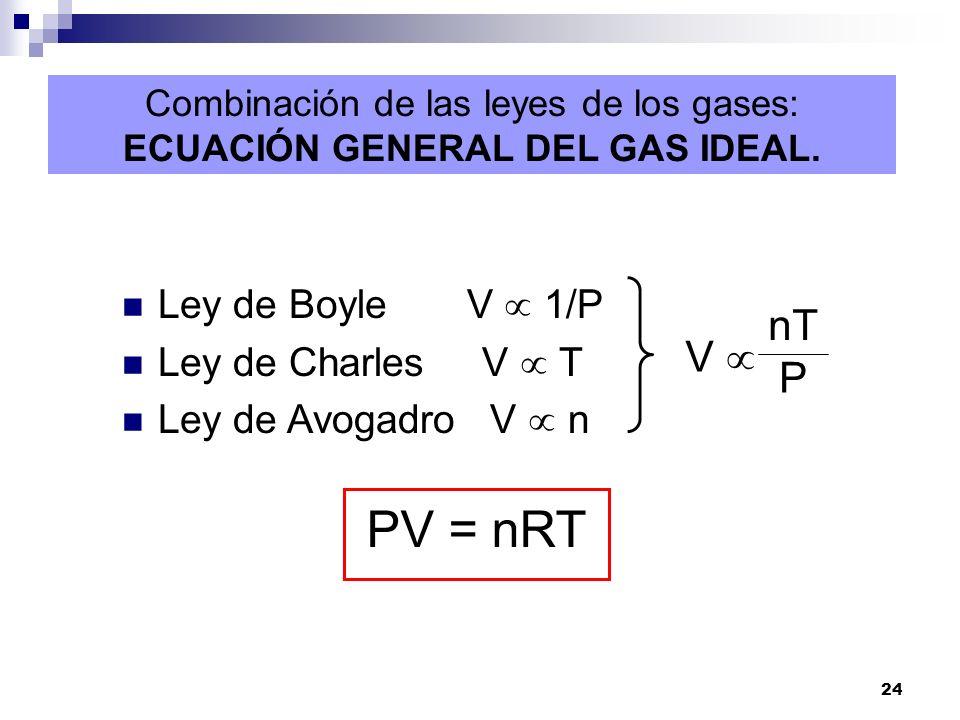 24 Combinación de las leyes de los gases: ECUACIÓN GENERAL DEL GAS IDEAL. Ley de Boyle V 1/P Ley de Charles V T Ley de Avogadro V n PV = nRT V nT P