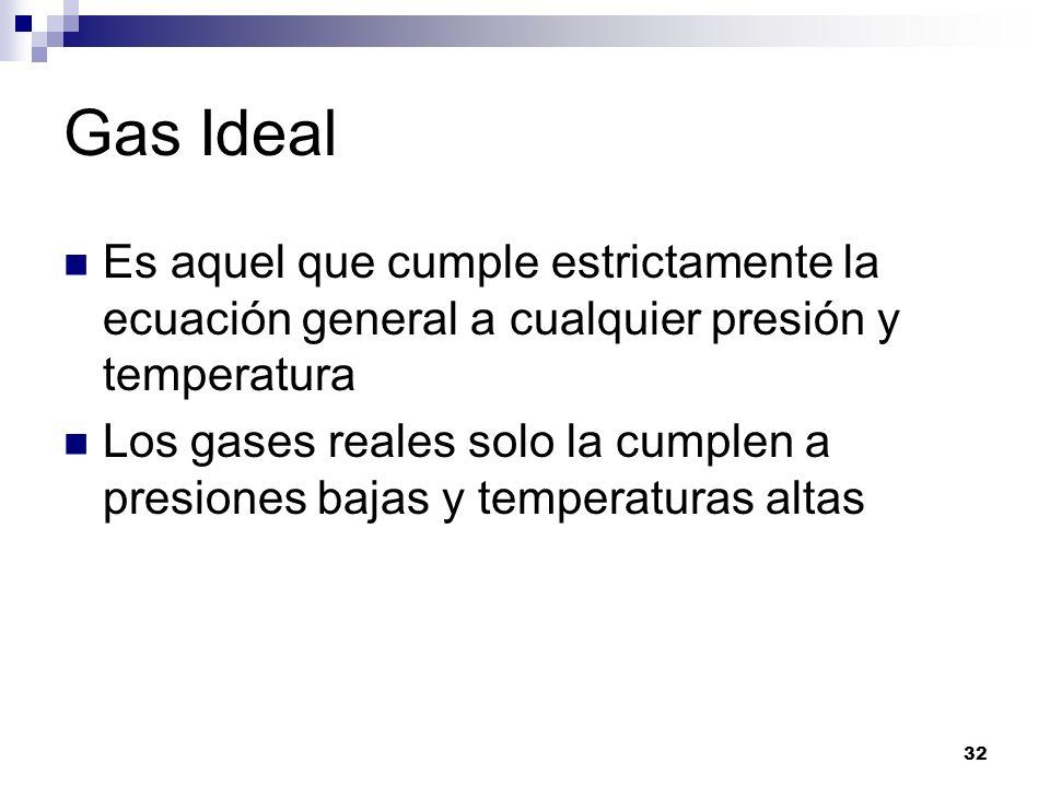 Gas Ideal Es aquel que cumple estrictamente la ecuación general a cualquier presión y temperatura Los gases reales solo la cumplen a presiones bajas y