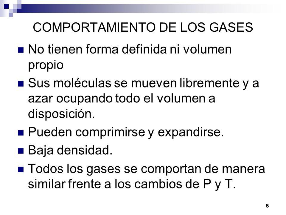 COMPORTAMIENTO DE LOS GASES No tienen forma definida ni volumen propio Sus moléculas se mueven libremente y a azar ocupando todo el volumen a disposic