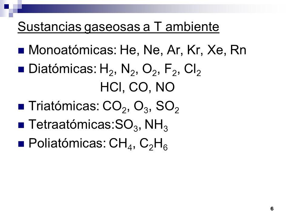 Sustancias gaseosas a T ambiente Monoatómicas: He, Ne, Ar, Kr, Xe, Rn Diatómicas: H 2, N 2, O 2, F 2, Cl 2 HCl, CO, NO Triatómicas: CO 2, O 3, SO 2 Te