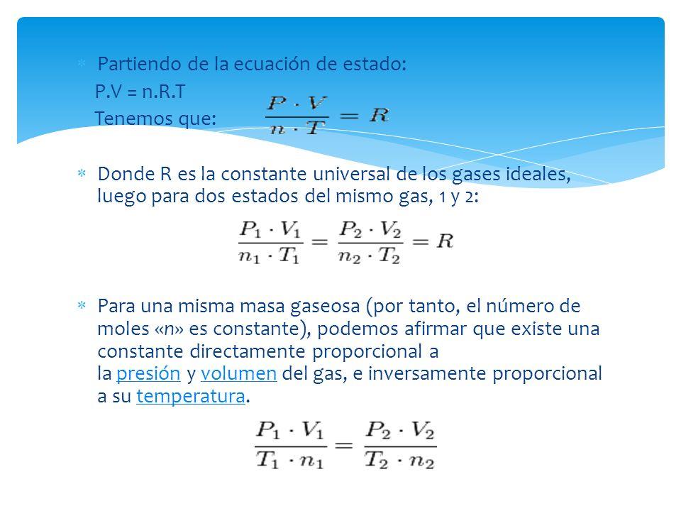 Partiendo de la ecuación de estado: P.V = n.R.T Tenemos que: Donde R es la constante universal de los gases ideales, luego para dos estados del mismo gas, 1 y 2: Para una misma masa gaseosa (por tanto, el número de moles «n» es constante), podemos afirmar que existe una constante directamente proporcional a la presión y volumen del gas, e inversamente proporcional a su temperatura.presiónvolumentemperatura
