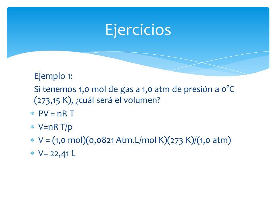 Ejemplo 1: Si tenemos 1,0 mol de gas a 1,0 atm de presión a 0°C (273,15 K), ¿cuál será el volumen.