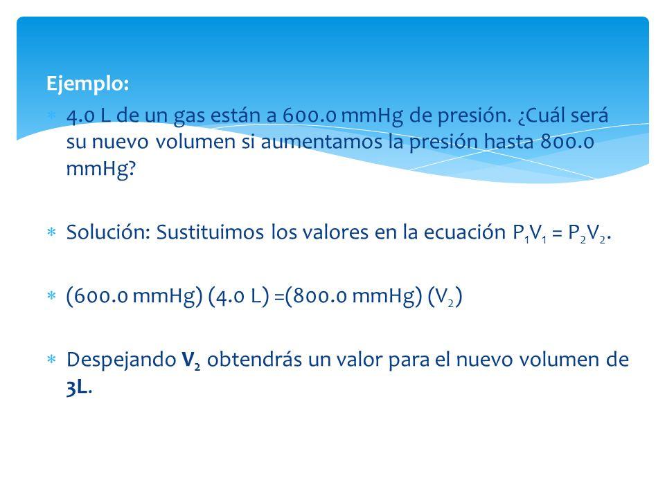 Ejemplo: 4.0 L de un gas están a 600.0 mmHg de presión.