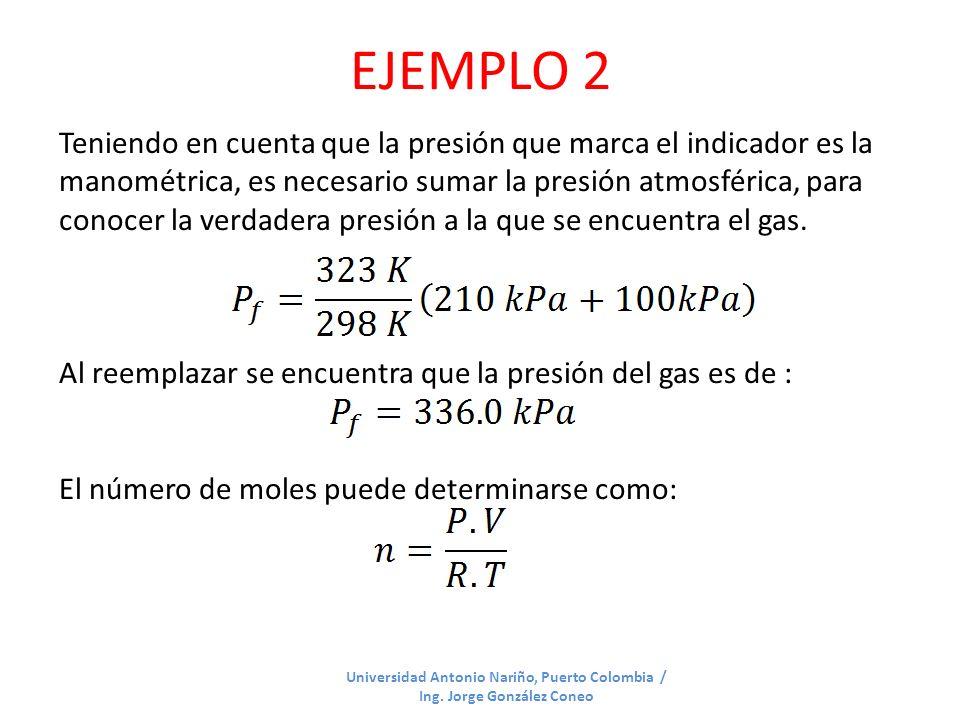 EJEMPLO 2 Universidad Antonio Nariño, Puerto Colombia / Ing. Jorge González Coneo Teniendo en cuenta que la presión que marca el indicador es la manom