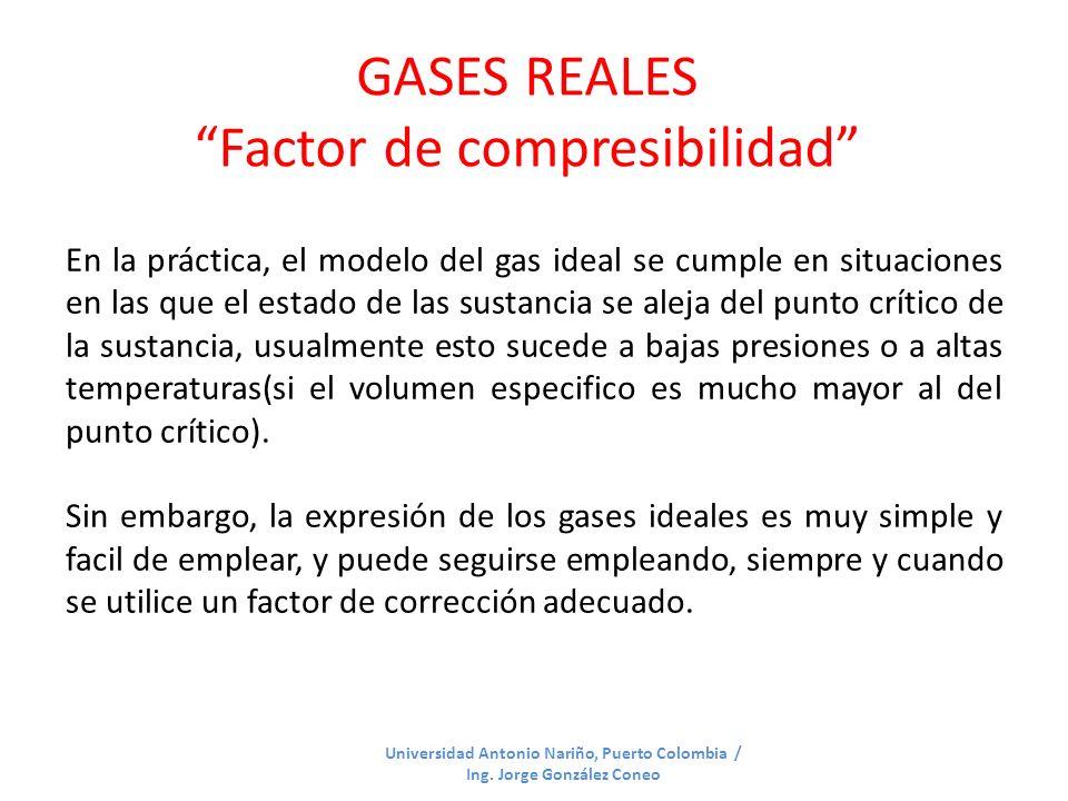 GASES REALES Factor de compresibilidad Universidad Antonio Nariño, Puerto Colombia / Ing. Jorge González Coneo En la práctica, el modelo del gas ideal