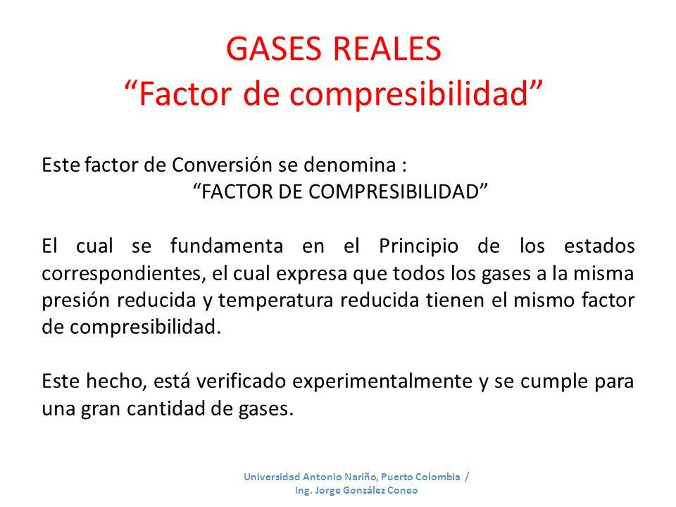 GASES REALES Factor de compresibilidad Universidad Antonio Nariño, Puerto Colombia / Ing. Jorge González Coneo Este factor de Conversión se denomina :