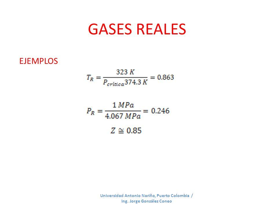 GASES REALES Universidad Antonio Nariño, Puerto Colombia / Ing. Jorge González Coneo EJEMPLOS