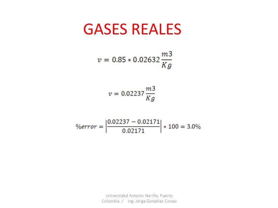 GASES REALES Universidad Antonio Nariño, Puerto Colombia / Ing. Jorge González Coneo