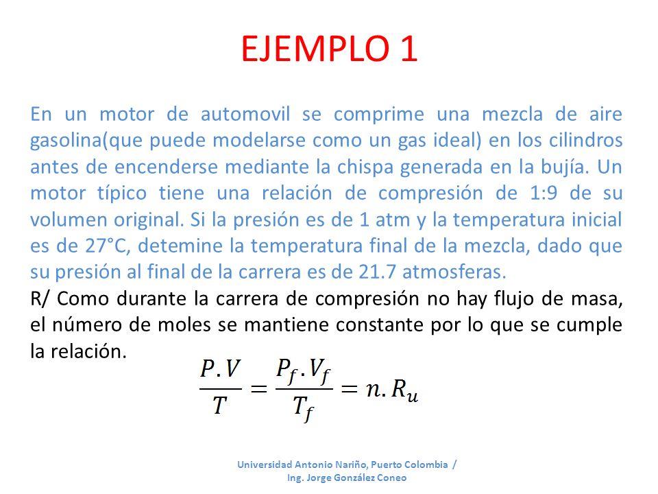 EJEMPLO 1 Universidad Antonio Nariño, Puerto Colombia / Ing. Jorge González Coneo En un motor de automovil se comprime una mezcla de aire gasolina(que