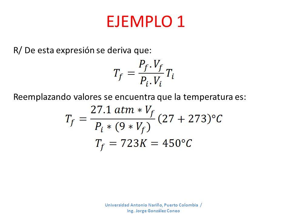 EJEMPLO 1 Universidad Antonio Nariño, Puerto Colombia / Ing. Jorge González Coneo R/ De esta expresión se deriva que: Reemplazando valores se encuentr