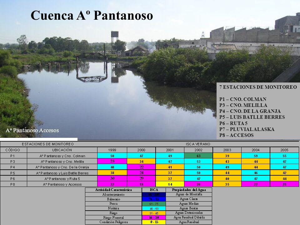 7 ESTACIONES DE MONITOREO P1 – CNO. COLMAN P3 – CNO. MELILLA P4 – CNO. DE LA GRANJA P5 – LUIS BATLLE BERRES P6 – RUTA 5 P7 – PLUVIAL ALASKA P8 – ACCES