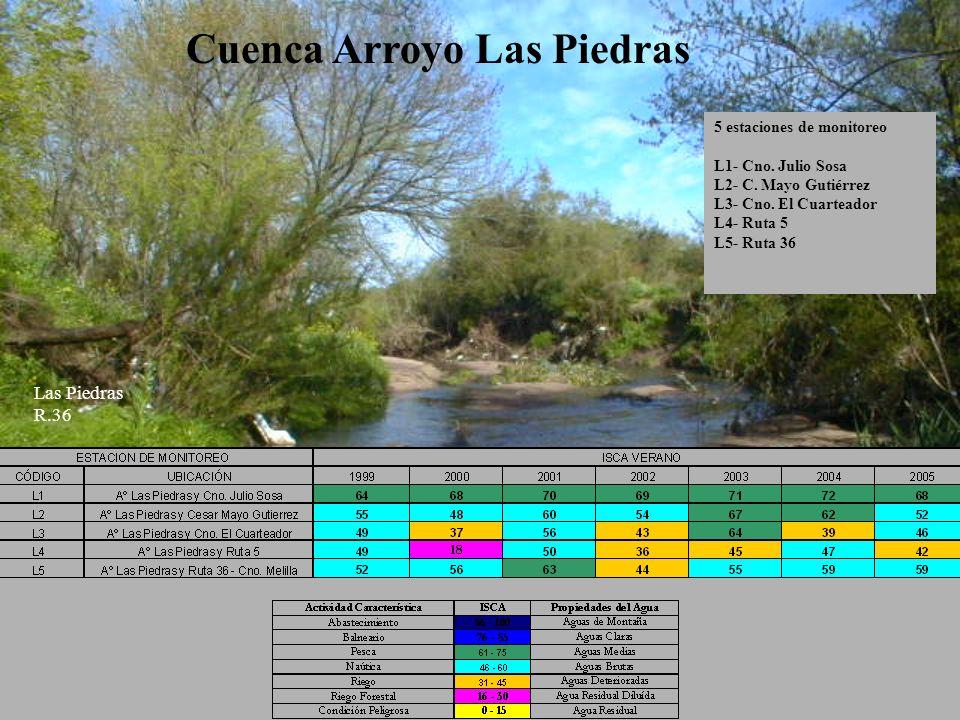 Cuenca Arroyo Las Piedras 5 estaciones de monitoreo L1- Cno. Julio Sosa L2- C. Mayo Gutiérrez L3- Cno. El Cuarteador L4- Ruta 5 L5- Ruta 36 Las Piedra