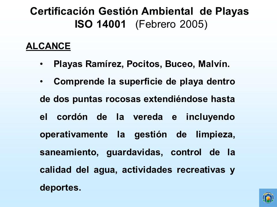 Certificación Gestión Ambiental de Playas ISO 14001 (Febrero 2005) ALCANCE Playas Ramírez, Pocitos, Buceo, Malvín. Comprende la superficie de playa de