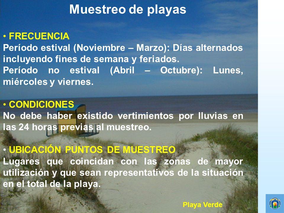Muestreo de playas FRECUENCIA Período estival (Noviembre – Marzo): Días alternados incluyendo fines de semana y feriados. Período no estival (Abril –