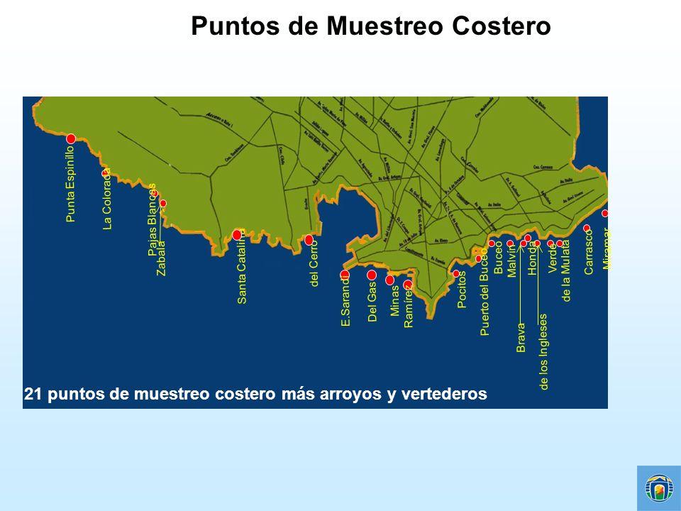 Puntos de Muestreo Costero Punta Espinillo del Cerro de los Ingleses Verde de la Mulata Carrasco Miramar Buceo Malvín Brava Honda Santa Catalina Ramír