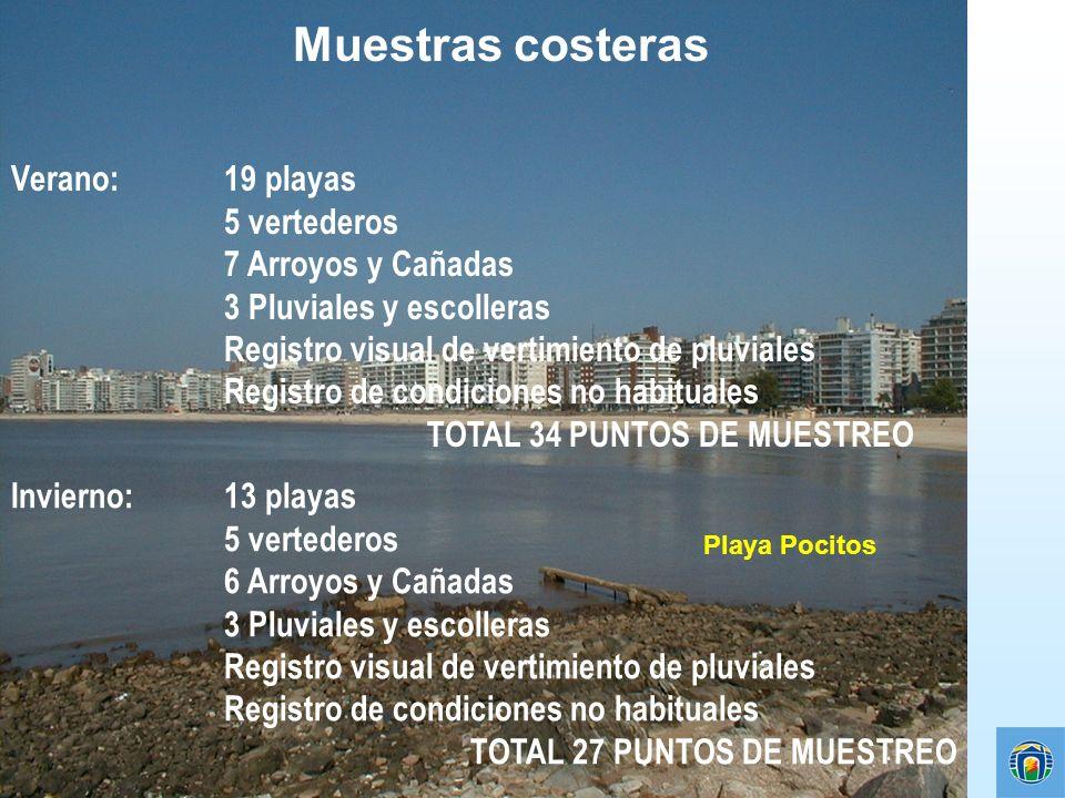 Verano: 19 playas 5 vertederos 7 Arroyos y Cañadas 3 Pluviales y escolleras Registro visual de vertimiento de pluviales Registro de condiciones no hab