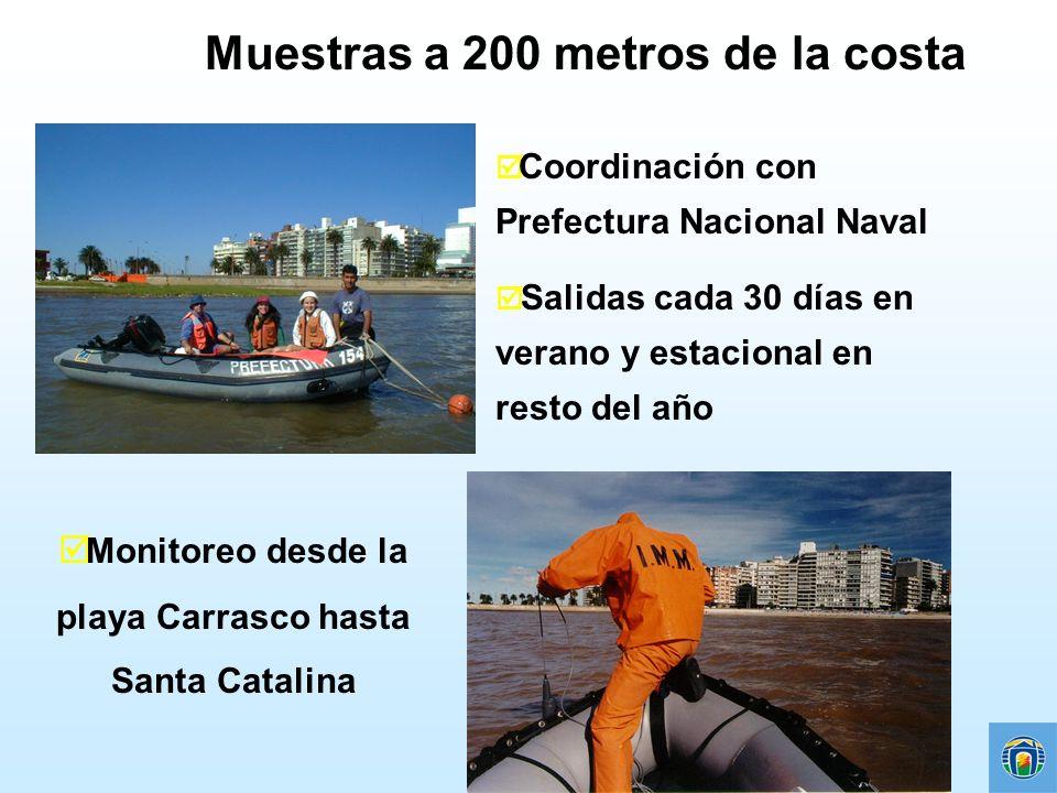 Muestras a 200 metros de la costa Coordinación con Prefectura Nacional Naval þ Salidas cada 30 días en verano y estacional en resto del año Monitoreo