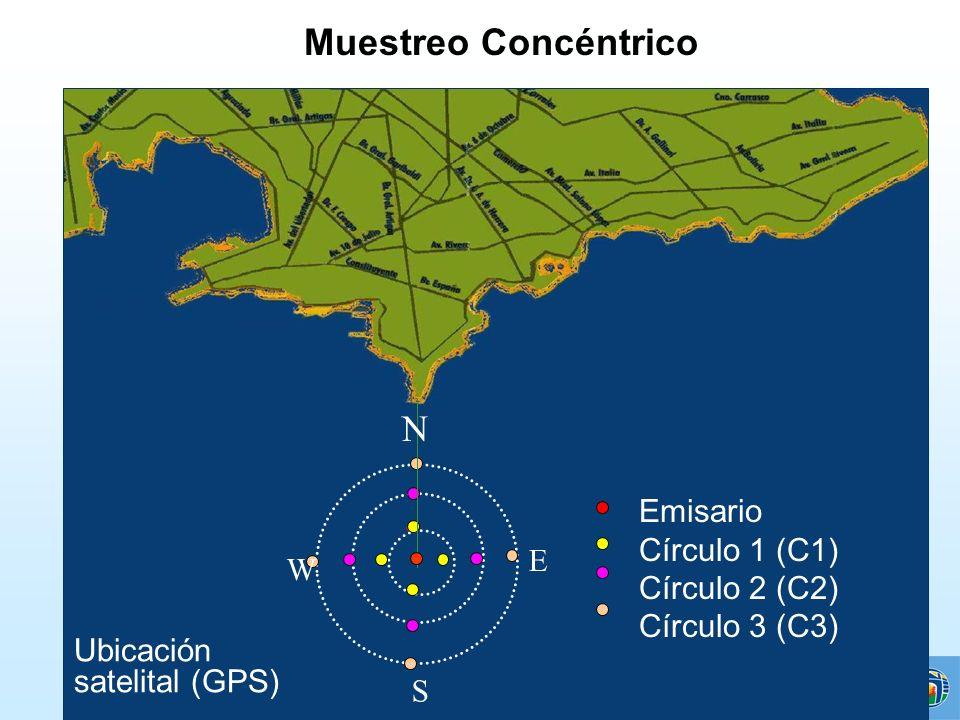Emisario Círculo 1 (C1) Círculo 2 (C2) Círculo 3 (C3) W E S Muestreo Concéntrico N Ubicación satelital (GPS)