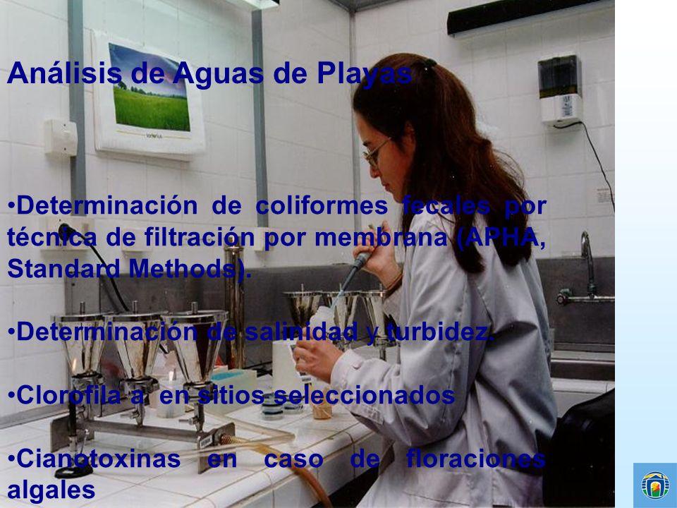Análisis de Aguas de Playas Determinación de coliformes fecales por técnica de filtración por membrana (APHA, Standard Methods). Determinación de sali