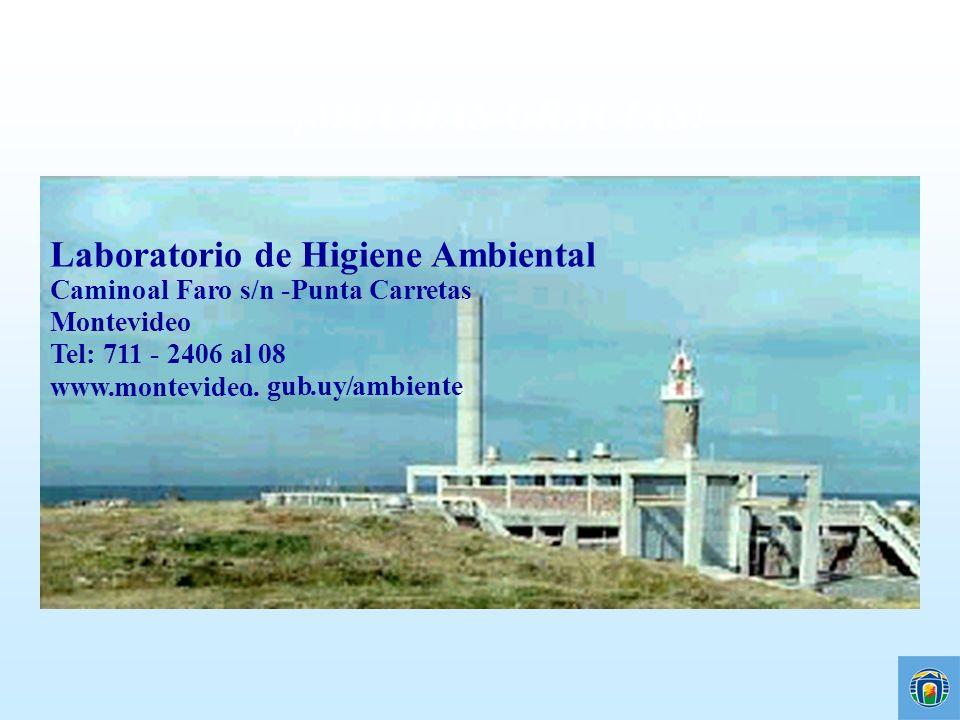 ¡MUCHAS GRACIAS! Laboratorio de Higiene Ambiental Camino al Faro s/n - Punta Carretas Montevideo Tel: 711 - 2406 al 08 www.montevideo.. gub.uy/ambient