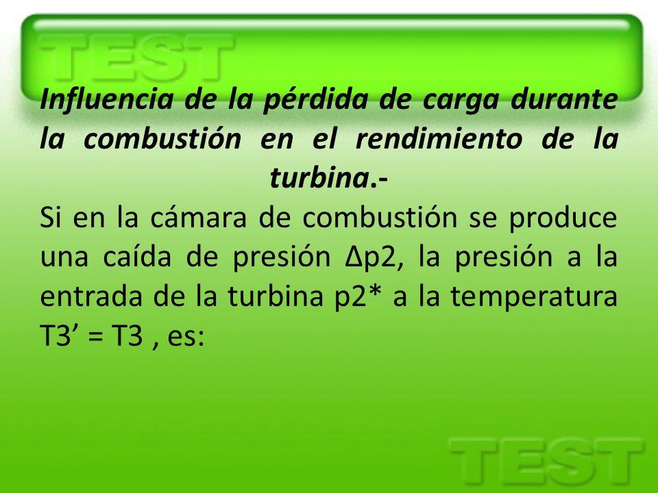 Influencia de la pérdida de carga durante la combustión en el rendimiento de la turbina.- Si en la cámara de combustión se produce una caída de presió