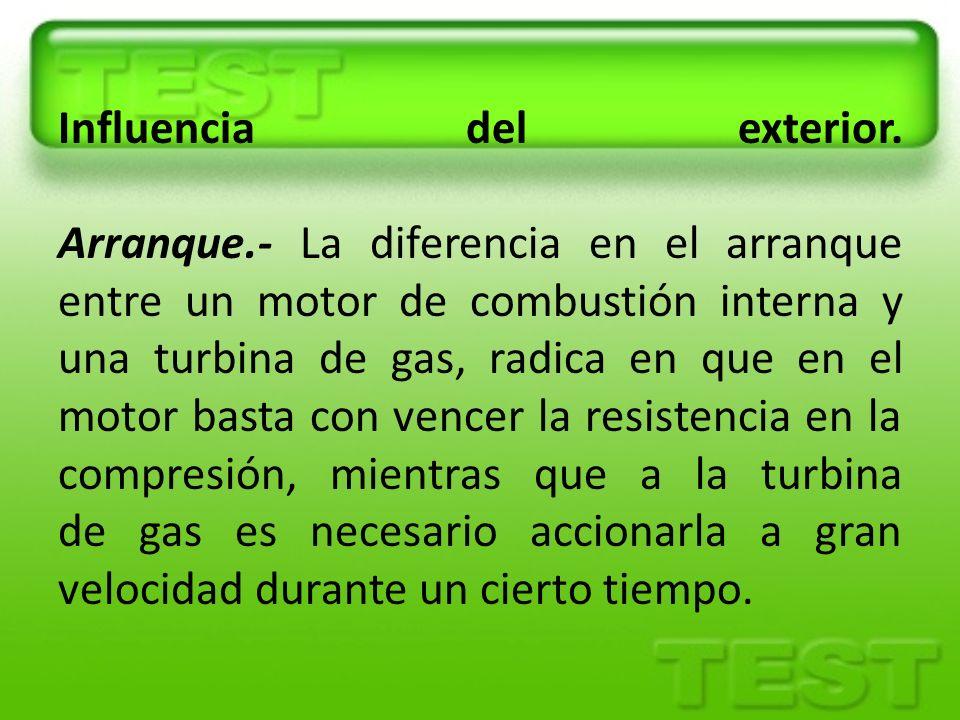 Influencia del exterior. Arranque.- La diferencia en el arranque entre un motor de combustión interna y una turbina de gas, radica en que en el motor