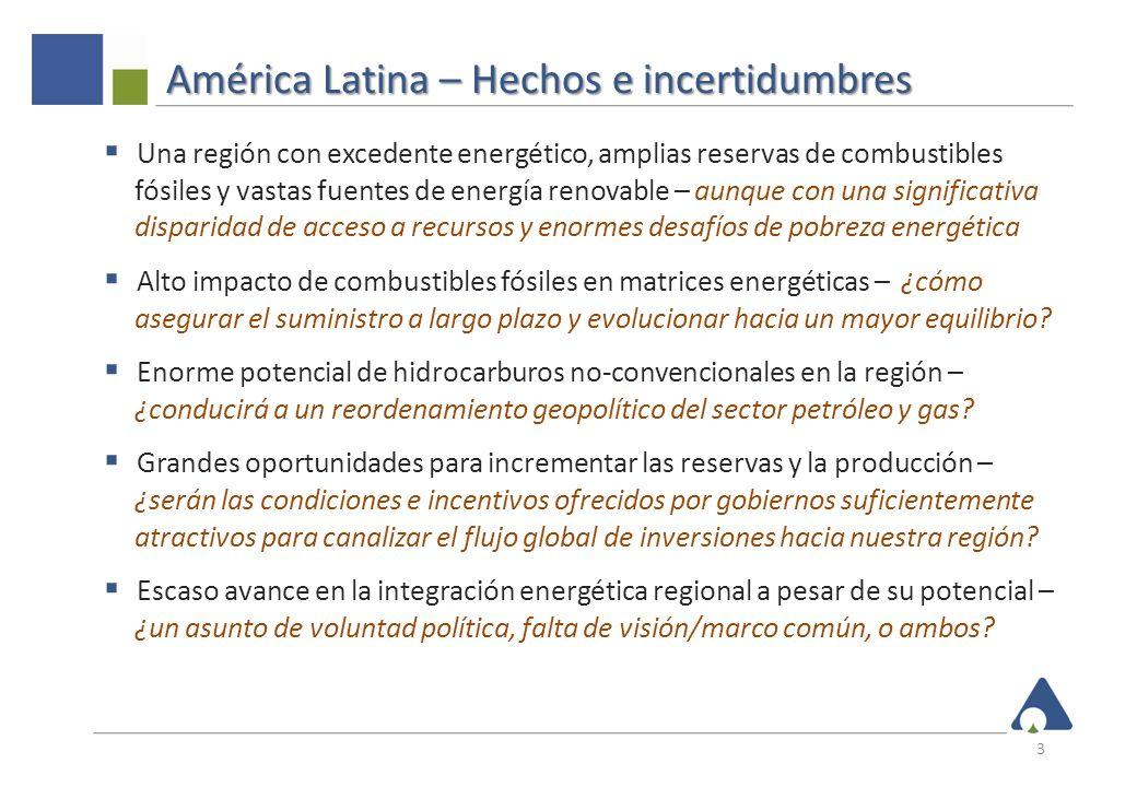 América Latina – Hechos e incertidumbres Una región con excedente energético, amplias reservas de combustibles fósiles y vastas fuentes de energía ren
