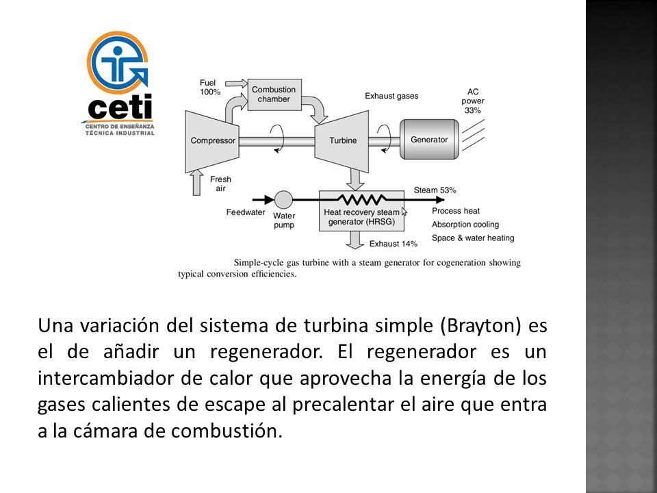 Una variación del sistema de turbina simple (Brayton) es el de añadir un regenerador. El regenerador es un intercambiador de calor que aprovecha la en