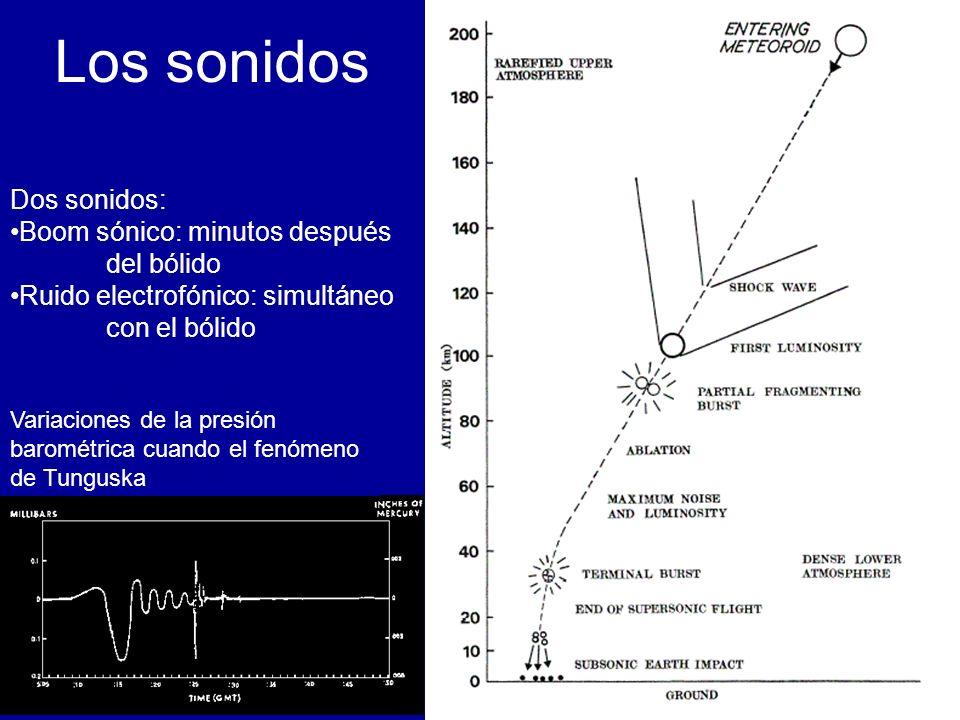 Los sonidos Variaciones de la presión barométrica cuando el fenómeno de Tunguska Dos sonidos: Boom sónico: minutos después del bólido Ruido electrofónico: simultáneo con el bólido
